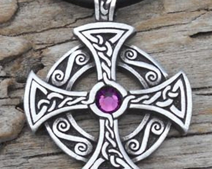 Featured listing image: Pewter SOLAR CROSS Swarovski Crystal Celtic Druid Irish Purple Amethyst FEBRUARY Birthstone Pendant