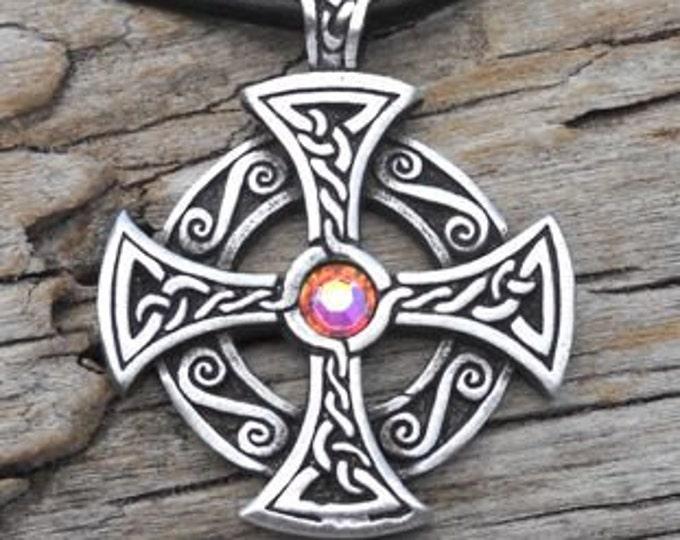 Featured listing image: Pewter SOLAR CROSS Swarovski Crystal Celtic Druid Irish Aurora Borealis APRIL Birthstone Pendant