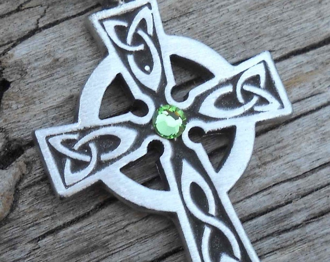 Featured listing image: Pewter Celtic Cross Irish Wales Pendant with Swarovski Crystal Peridot AUGUST Birthstone (300)