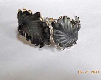Vintage Enamel Feather Leaf Hinged Bracelet