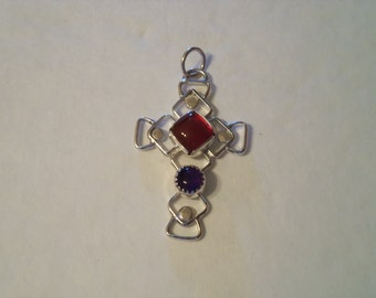 Sterling Silver Cross with Carnelian and Amethyst