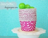 Pink Polka Dot Candy Cup, Nut Cup, Portion Cup,Cupcake Paper - 25