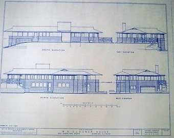 Frank Lloyd Wright Glasner House Blueprint
