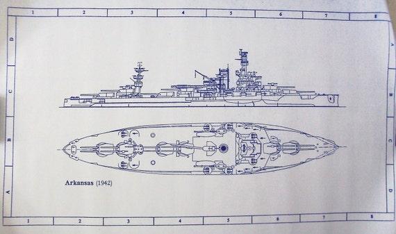 Ww ii battleship uss arkansas blueprint by blueprintplace for Arkansas blueprint