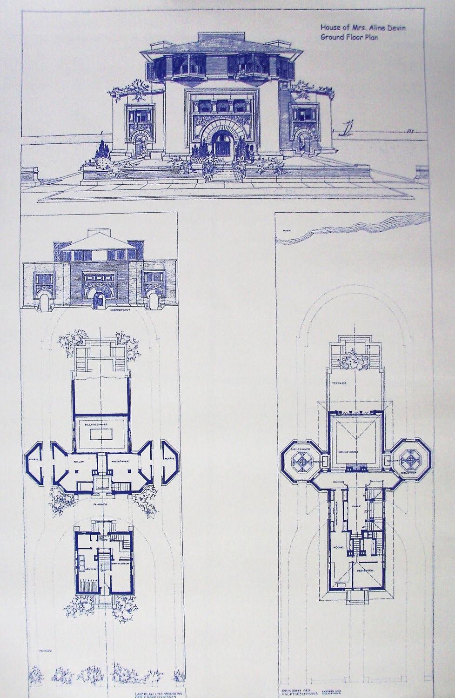 Frank lloyd wright devin house blueprint by blueprintplace for Frank lloyd wright blueprints houses