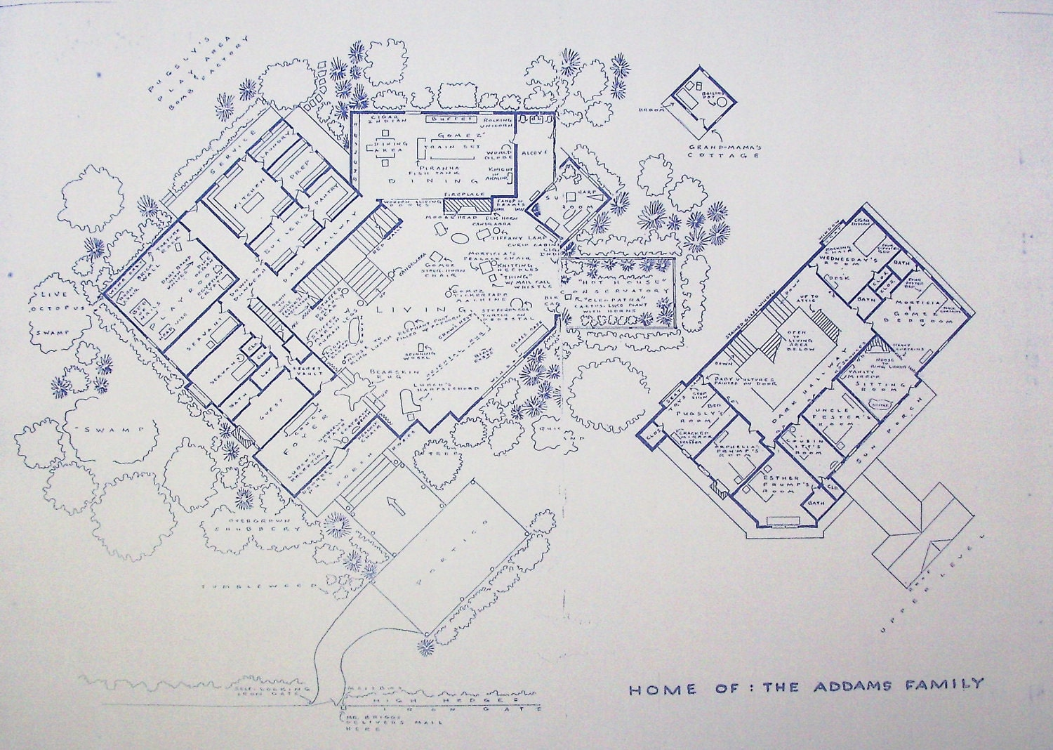 House from addams family tv show blueprint by blueprintplace for Addams family house floor plan