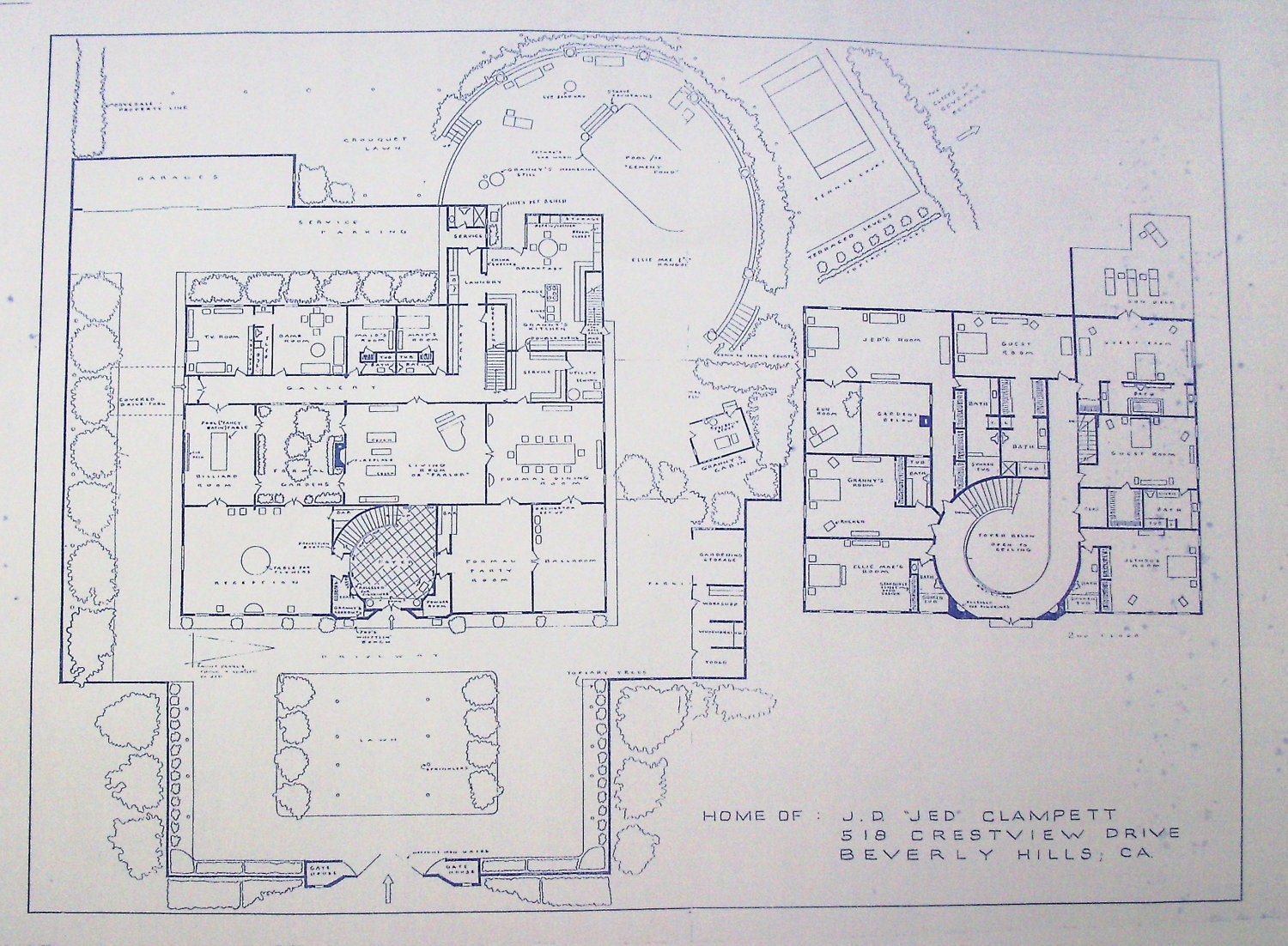 House From Beverly Hillbillies TV Show Blueprint By