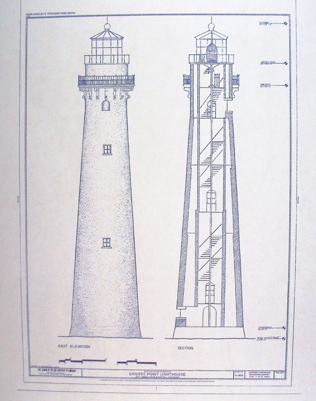 Grosse Point Lighthouse Blueprint By Blueprintplace On Etsy