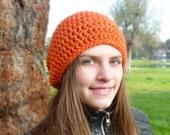 Classic beanie hat - ORANGE CRUSH - crochet - womens Winter Autumn accessories wool woolen