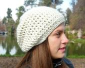 Classic beanie hat - OFFWHITE - crochet - womens Winter Autumn accessories wool woolen