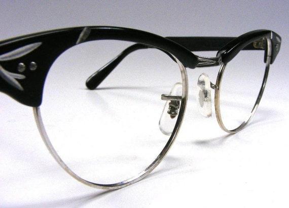Black & Silver Cateye Eyeglasses 1950's Womens Pointy Eyewear Retro Medium