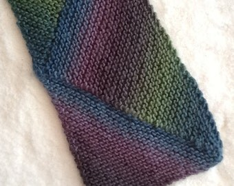 Hand Knit  Chevron Pattern Scarf in Jewel Tones  READY TO SHIP