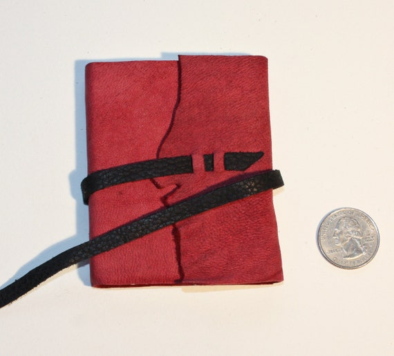 "3.25"" x 2.5"" Handmade Leather Pocket Sized Notebook"