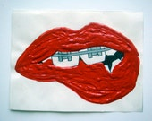 Big Red - Small Red Textured Lip Bite Braces Drawing