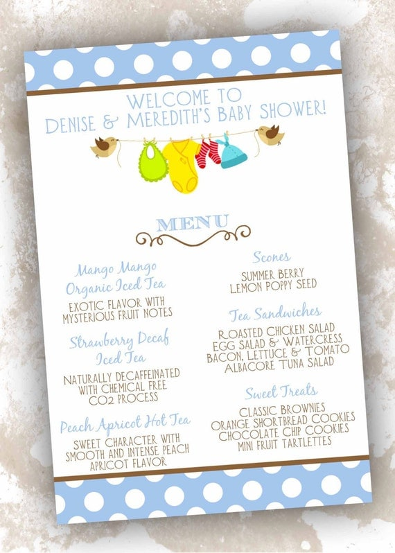 Baby shower menu cards clothesline theme 25 count by for Baby clothesline decoration baby shower
