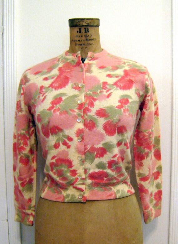 Adorable Vintage 1950's Bobbie Brooks Floral Print Cardigan Sweater S