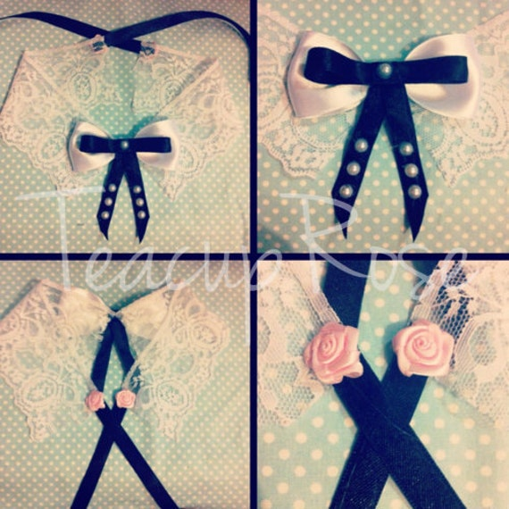 Lace collar with black and white bow centre, pearls and ribbon tie up back
