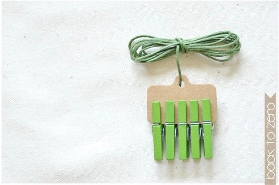 Mini Clothespins & Wax Cotton Twine - Green