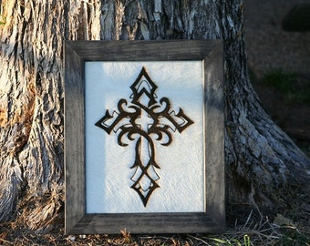 Framed Cowhide with Cross or Fleur de Lis