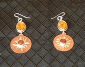 African copper and silver pendant fabricated earrings, made to go with African pendants necklace