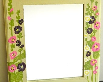 "Hand-Painted Wooden Hollyhock Mirror ""Marti"" - Ready to Ship"