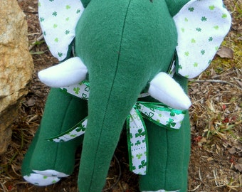 "Green Plush Elephant - ""Seamus"""
