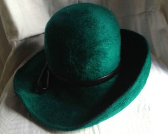 Vintage 60s Felt Teal Green Hat
