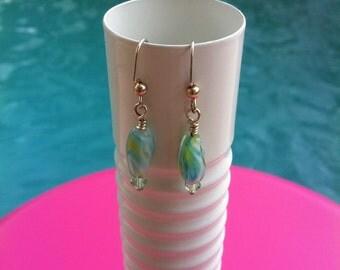 Green Pastel Earrings with Swarovski Crystal