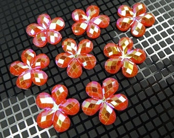 20 Pcs of 20.5mm Resin Faceted AB Red Colored Flower Cabochons