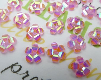 50 Pcs of 9.5mm Resin Faceted AB Pink Colored Flower Cabochon
