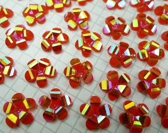 50 Pcs of 9.5mm Resin Faceted AB Red Colored Flower Cabochon
