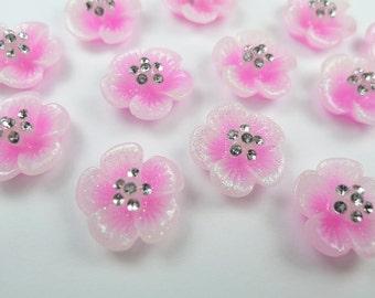 10 Pcs of 16mm Glitter Pink Sakura Flower with Rhinstones Resin Cabochon