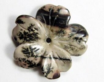 29mm Picture Jasper Flower Pendant Bead