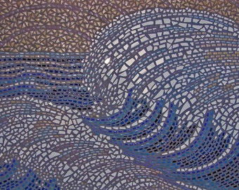 The Wave, rare, OAK, statement piece, full-sized hand-clipped porcelain and ceramic tile large wall mosaic, ocean, blue, 2' x 3'