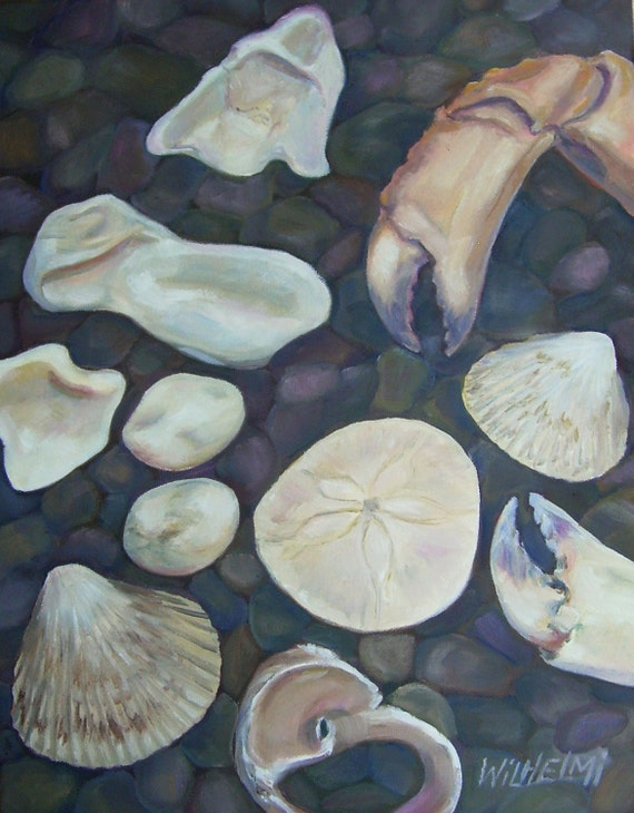 "Small original painting, beach painting, shell series...""In my search for the perfect moonsnail, I found an amazing crab"""