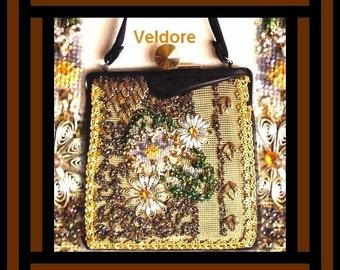 Vintage 1950s Purse Designer Veldore Original Handbag Mad Man Rockabilly Retro Garden Party Collectible