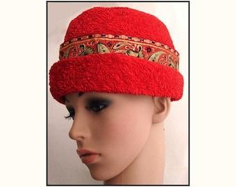 Vintage 1950s Hat Red Designer Jan Leslie Garden Party Mad Man Rockabilly Designer Dress Retro femme fatale