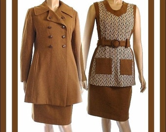Vintage 1960s Dress Suit Matching Coat (3) Piece Bombshell Swing Pinup Garden Party Mad Man Rockabilly Femme Fatale Couture Designer