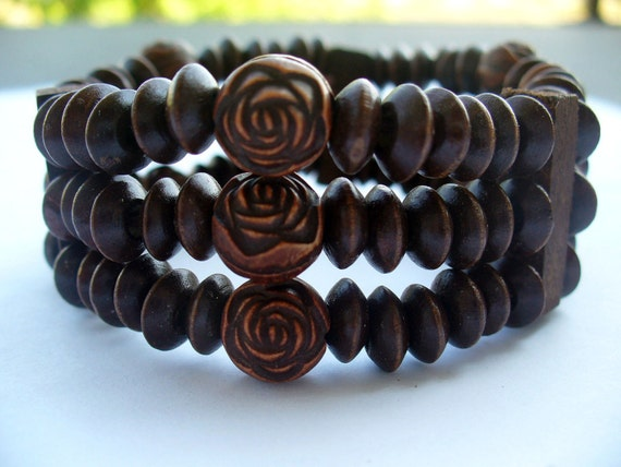 FREE SHIPPING Wood bracelet,Fashion Multi-strand stack bracelets with brown beads,handmade jewelry