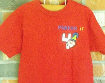 Boys Birthday Tshirt, birthday tshirt, boys monogrammed tshrit, boys embroidered tshirt, boys age tshirt,