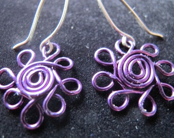 Daisy flower earrings in purple and silver for girls -- wire wrapped children's jewelry