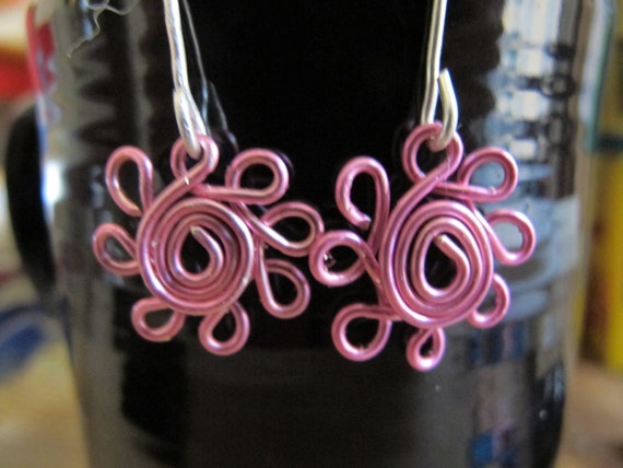 Daisy flower earrings for girls, silver and pink -- wire wrapped children's earrings