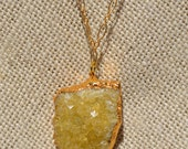 Citrine cluster necklace with gold chain and components