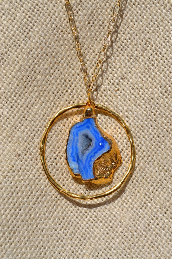 Blue agate geode necklace with gold chain and components