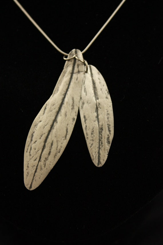 Elf  Fairy Natural Willow Leaf Silver Necklace Pendant