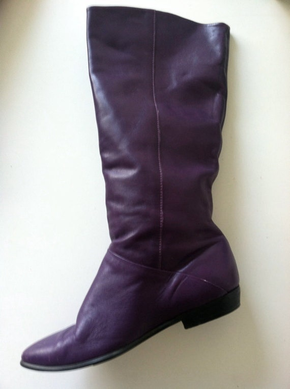 Vintage Women's Leather Purple Pirate Slouch Boot  6.5