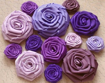 14 Handmade Ribbon Roses in Purple Combination MY-001 -01 Ready To Ship (On Sale)