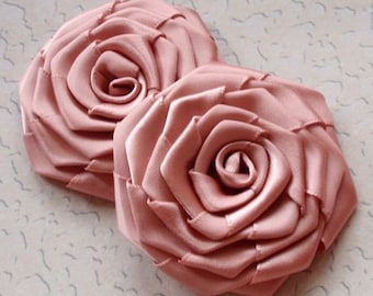 2 Handmade Ribbon Roses (2.5 inches) in Sweet Nectar MY-003-25  Ready To Ship