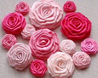 14 Handmade Ribbon Roses in Pink Combination MY-001 -02 Ready To Ship (On Sale)