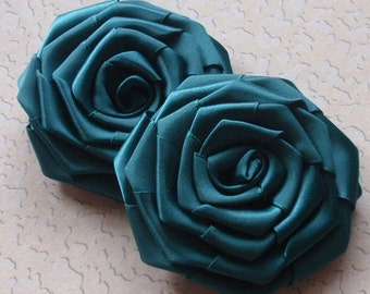 2 Larger Handmade Ribbon Roses (3 inches) in Teal MY-002 -071 Ready To ship
